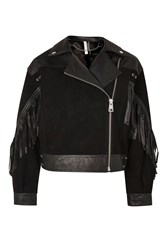 Topshop Stand Out Embellished Leather Biker Jacket Black