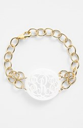 Women's Moon And Lola 'Annabel' Medium Oval Personalized Monogram Bracelet Snow Gold Nordstrom Exclusive
