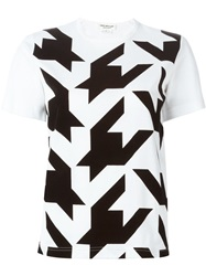 Junya Watanabe Comme Des Garcons Houndstooth Print T Shirt White