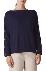 Whistles Button Sleeve Sweater Navy