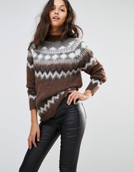 Replay Fairisle Fluffy Knit Jumper Dark Chocolate Brown