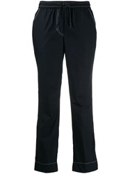 P.A.R.O.S.H. Denim Style Cropped Trousers Blue