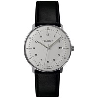 Junghans 027 4700.00 Men's Max Bill Automatic Stainless Steel Leather Strap Watch Black White