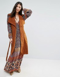Raga Ride Out Suedette Long Waistcoat Brown
