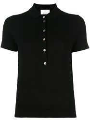 Allude Knitted Short Sleeve Polo Shirt Black