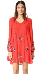 Free People Oxford Embroidered Mini Dress Red Combo