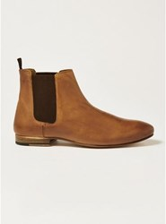 Topman Brown Tan Leather Luther Chelsea Boots