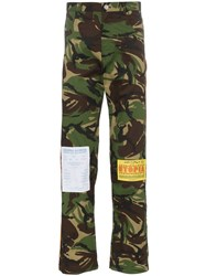 Martine Rose Patch Detail Camouflage Cotton Blend Trousers Green