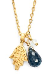 Women's Satya Jewelry Cluster Pendant Necklace Blue Topaz Hamsa