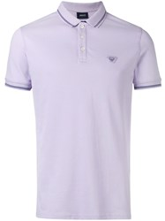 Armani Jeans Embroidered Logo Polo Shirt Pink Purple