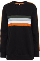 No Ka' Oi Noelani Striped Cotton Blend Jersey Sweatshirt Black