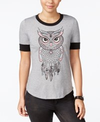 Rebellious One Juniors' Owl Dreamcatcher Graphic Ringer Tee Heather Grey Black