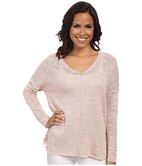 525 America Inside Out Seam V Neck Tunic Pink Blush Women's Long Sleeve Pullover