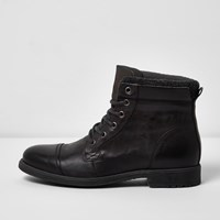 River Island Mensgrey Leather Work Boots