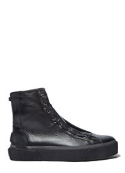 Lanvin High Top Lace Up Leather Sneakers Black