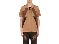 Neil Barrett Men's Nubuck Oversized Shirt Tan