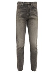 Saint Laurent Distressed High Rise Straight Leg Jeans Grey