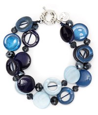 Cc Blues Two Row Shell And Facet Bracelet