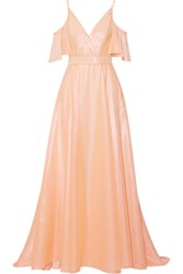 Lela Rose Off The Shoulder Metallic Voile Gown Blush