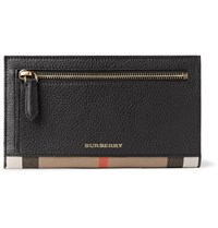 Burberry Checked Twill Trimmed Full Grain Leather Travel Wallet Black