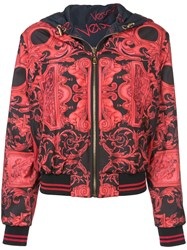 Versace Printed Bomber Jacket Red