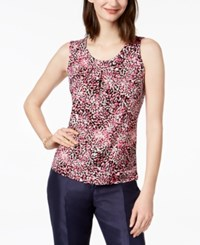 Kasper Printed Pleated Neck Shell Med Pink