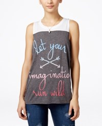 Mighty Fine Juniors' Graphic Tank Top Heather Charcoal