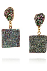 Dara Ettinger Gold Plated Druzy Earrings Metallic