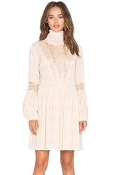 Ganni Long Sleeve High Neck Mini Dress Cream