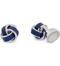 Ermenegildo Zegna Leather Knot Cufflinks Blue