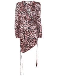 Laneus Leopard Print Gathered Mini Dress Pink