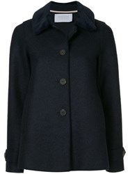 Harris Wharf London Loden Faux Fur Trimmed Jacket Blue