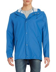 Cole Haan Button Front Rain Coat Blue