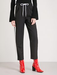 Moandco. Side Stripe Relaxed Fit High Rise Wool Blend Trousers Black