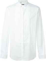 Dolce And Gabbana Floral Embroidered Bib Shirt White