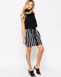 Mango Vertical Stripe Safari Skirt Black