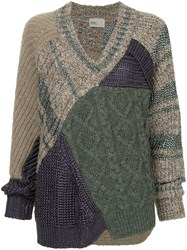 Kolor Patchwork Knitted Sweater Grey