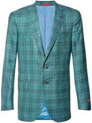 Isaia Plaid Blazer Green