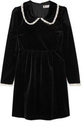 Paul And Joe Lace Trimmed Velvet Mini Dress Black