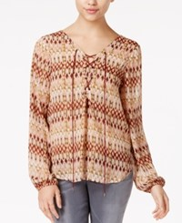 Jessica Simpson Morgan Sheer Lace Up Blouse Nature