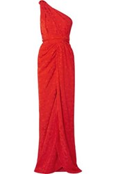 Brandon Maxwell One Shoulder Jacquard Gown Red