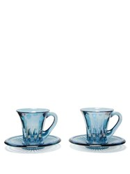 Luisa Beccaria Set Of Two Glass Espresso Cups And Saucers Blue