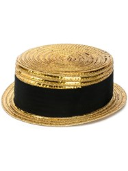 Saint Laurent Small Boater Hat Gold