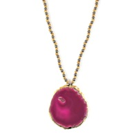 Amanda Marcucci Pink Agate Necklace With Hematite Pink Purple Gold