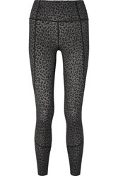 Varley Bedford Leopard Print Stretch Leggings Dark Gray
