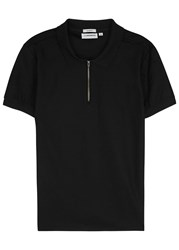 J. Lindeberg Black Pique Cotton Polo Shirt