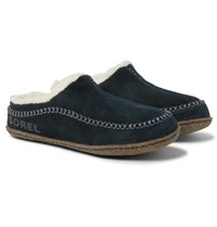Sorel Falcon Ridge Ii Fleece Lined Suede Slippers Black
