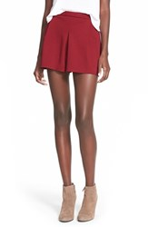 Junior Women's Lily White Pleat Front Knit Shorts Burgundy