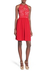 Junior Women's Morgan And Co. Sequin Lace Keyhole Bodice Skater Dress