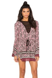 Band Of Gypsies Long Sleeve Printed Mini Dress Pink